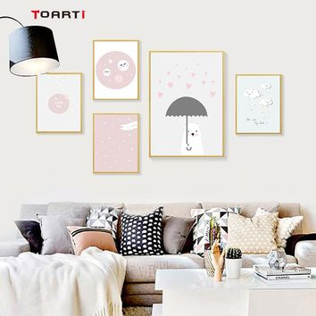 Nordic Style Cloud Poster Pink Heart Bear Canvas Painting Art Print Decoracion Wall Pictures For Kids Rooms Wall Art Home Decor