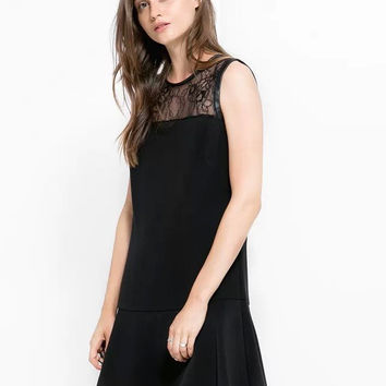 Black Cutout Lace Zipper-Back Sleeveless Ruffle Dress