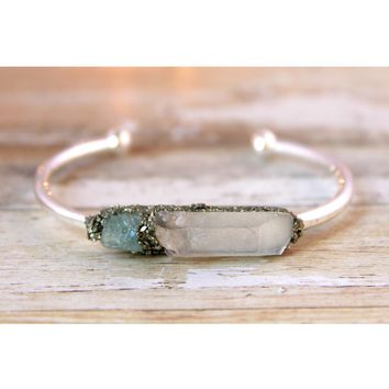Clear Quartz & Raw Aquamarine March Birthstone Gemstone Bracelet
