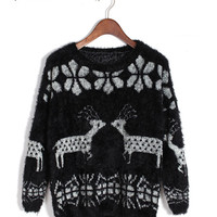 Fuzzy Reindeer and Snow Flake Pattern Petite Knit Sweater