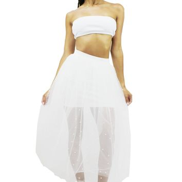 Underlining See Through Pleated Pearl and Rhinestone Studs Maxi Skirt