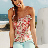 Pink Floral Ruffle-Front Tank