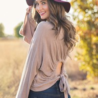 Never Say Never Open Back Top (Taupe)