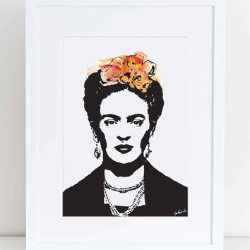 Frida Kahlo with water colour in orange