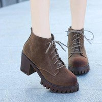 Fashion Increased Lace Up Chunky Heel Boots
