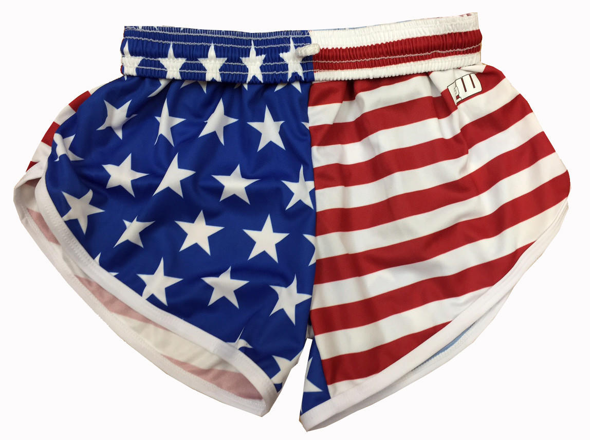Womens American Flag Split Shorts From Annapolis Running Shop
