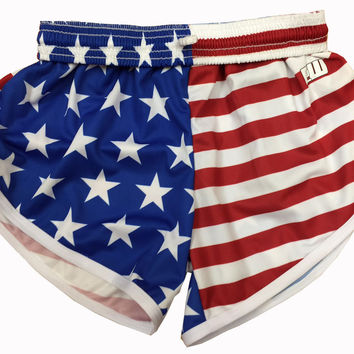 Womens American Flag Split Shorts
