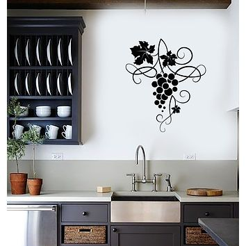 Vinyl Wall Decal Fruit Handful Of Grapes Wine Shop Stickers (3775ig)