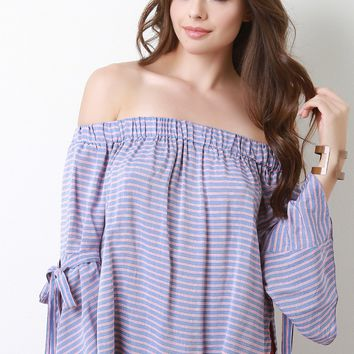 Striped Off-The-Shoulder Bow-Tie Bell Sleeves Blouse Top