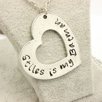 2016 Factory Directly Sale Teen Wolf  Letter Stiles is my Batman Necklace Personalized Heart Necklace For High Quality Jewelry
