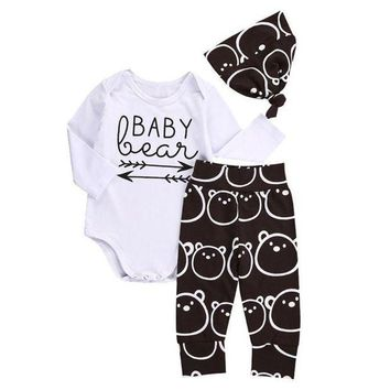 LCMFON Newborn Baby Girls Boys Tops baby Romper +Long Pants Hat 3Pcs Outfits Clothes YL drop shipping