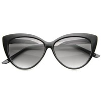 Womens Glam Fashion High Metal Temple Oversized Cat Eye Sunglasses