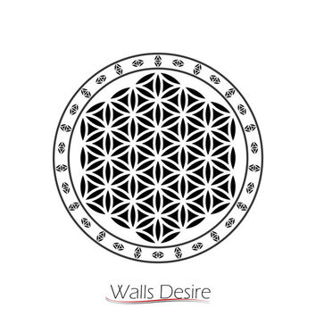Flower Of Life, Sacred Geometry, Surrounded By The Same Pattern vinyl decal, J00070.
