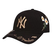 MLB NY Fashion New Embroidery Letter Floral Bee Sun Protection Cap Hat Black