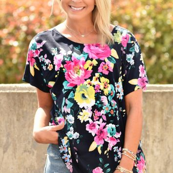 Floral Confessions Top - Navy