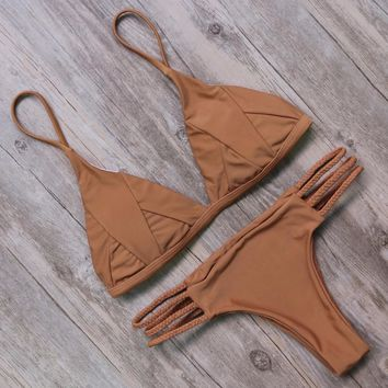 Braid Swimsuit Bikini - Brown