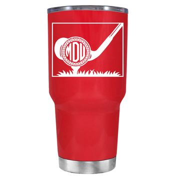 TREK Monogrammed Golf Ball on Red 30 oz Tumbler Cup