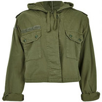 Hooded Crop Army Jacket - Jackets & Coats  - Clothing