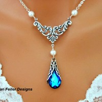 Blue Victorian Necklace Pearl Wedding Jewelry Bridal Bridesmaid - Vivian Feiler Designs | Wedding
