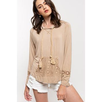 Hooded Top with Front Crochet Pocket - Beige