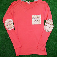 TALK SEQUINS TO ME TOP IN CORAL
