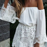 White Lace Long Sleeve Stitching Off Shoulder Rompers