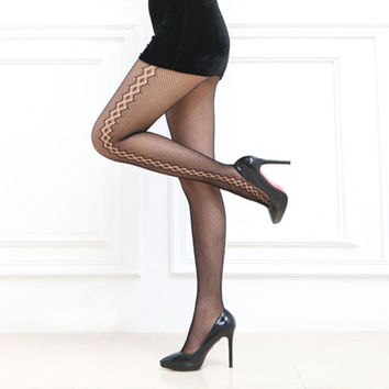 New Hot Pantyhose Female Sexy Fishnet Jacquard Stockings Patterned Tights Pantyhose Tights Women 830