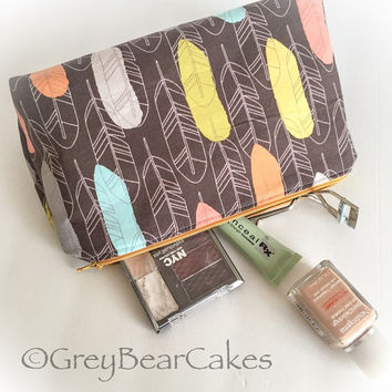 Cosmetics bag/Toiletry Case in quill in bark by Michael Miller - zippered bag fully lined - Pencil Case/ Pen Case