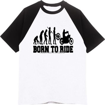 Born To Ride Motorcycle Evolution T-shirts - Men's Crew Neck Novelty Top Tee