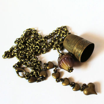 Antique Thimble and Acorn Necklace Peter Pan and Wendy Kisses Brass