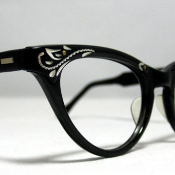 Vintage Cat Eye Glasses Frames Black and by CollectableSpectacle