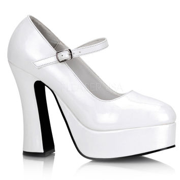 White Patent Leather Mary Jane Platforms