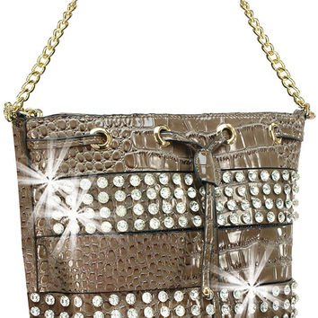 * Rhinestone Accented Layered Patent Cross Body Tote in Pewter