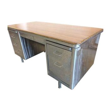 Pre-owned Wood Top Steelcase Desk