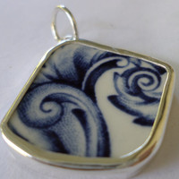 Broken China Necklace Pendant  Chaney Sterling Blue Plume Pendant  Fused Glass