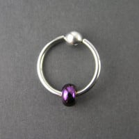 Metallic Purple Czech Glass CBR Cartilage Hoop Captive Bead Ring 14G Conch Helix Tragus Nipple Septum Piercing Intimate Hoop Colorful CBR