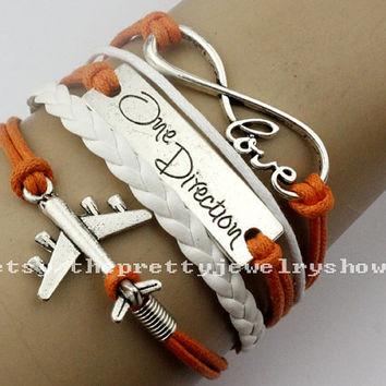 Charm Bracelet Infinity Love Bracelet One Direction Bracelet Airplane Bracelet Orange Wax Cord And White Leather Braid Friendship Gift.-T167