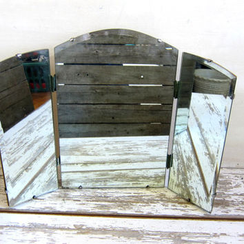 vintage frameless 3 Panel Vanity Mirror For Table Or Hanging / Tri Panel shaving mirror / triptych mirror