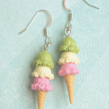 Triple Scoop Ice Cream Dangle Earrings