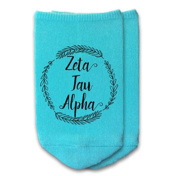 Zeta Tau Alpha - Sorority Name with Wreath No-Show Socks
