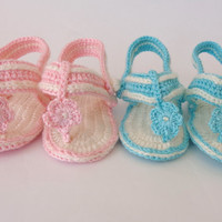 Crochet Baby  Flower, Gladiator Sandals, Baby Crochet Sandals, Newborn Crochet Sandals, Infant Sandals Choose Your Color