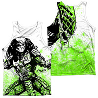 ALIEN VS PREDATOR/GRAPHIC BATTLE (FRONT/BACK PRINT)-ADULT 100% POLY TANK TOP-WHITE