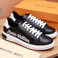Louis Vuitton LV New fashion letter men single shoes Black
