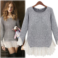 Women's Trending Popular Fashion 2016 Knit Lace Long Long Sleeve Shirt Blouse Top T-Shirt _ 5412