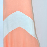 Plush Posh Colorblock Soft Maxi Skirt - Peach/White
