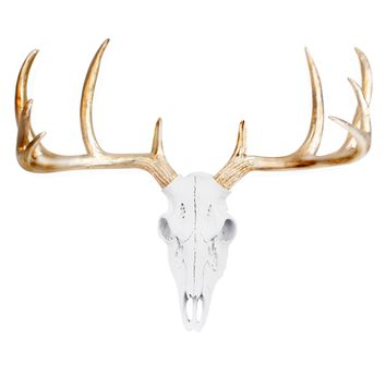 Large Deer Head Skull | Faux Taxidermy | White + Gold Antlers Resin