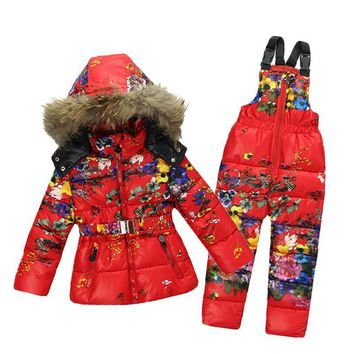 Winter Flowered Natural Fur Hooded Snow Coat and Overalls