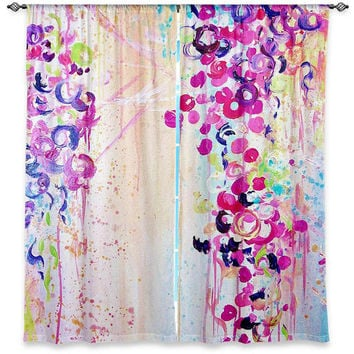 FEMININE Floral Window Curtains Floral Sakura Flowers Home Decor Bedroom Kitchen Lined Unlined Woven Fabric Multiple Sizes Abstract Fine Art