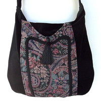 Gypsy Tapestry Bag Messenger Renaissance Crossbody Black Velvet Boho Purse