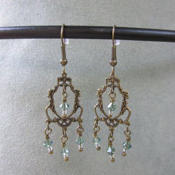 Dangle Earrings Brass Filigree and Green Swarovski Beads